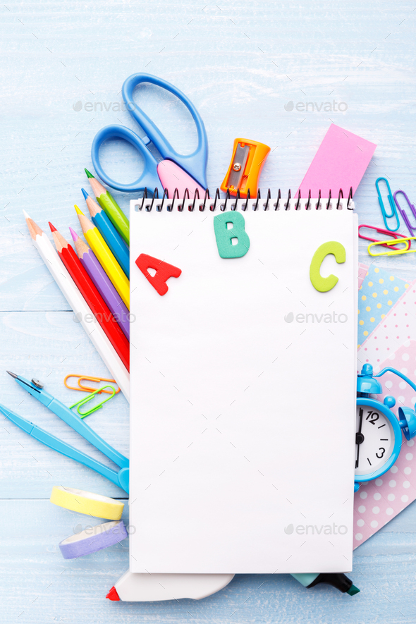 Stationery on blue table - Stock Photo - Images