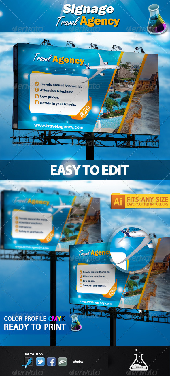 Signage Travel Agency - Signage Print Templates