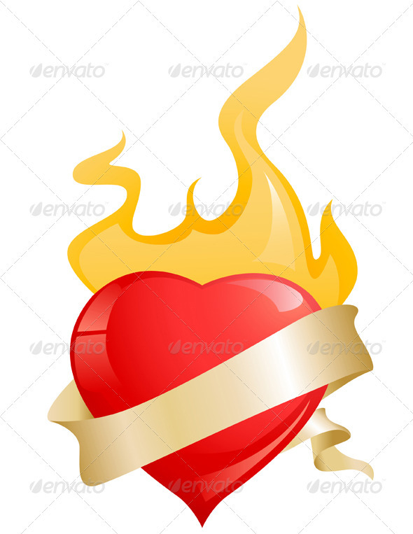 Glossy Red Heart with Ribbon and Fire - Valentines Seasons/Holidays