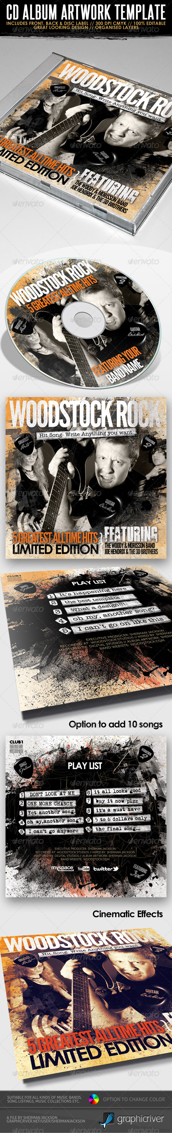 Woodstock Rock Compilation CD Artwork PSD - CD & DVD Artwork Print Templates