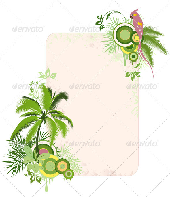 Floral Background with Palms and Parrot - Flowers & Plants Nature