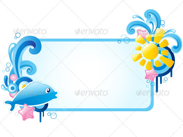 Summer Banner with Ornament and Fish - Seasons Nature