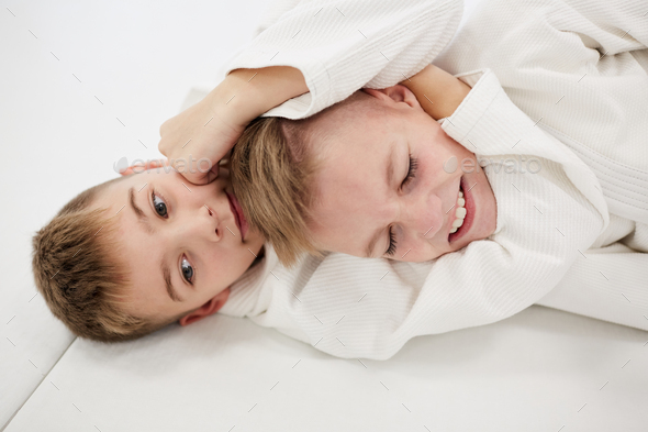 Two boys fighting - Stock Photo - Images