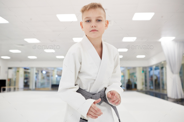 Little boy standing in kimono - Stock Photo - Images