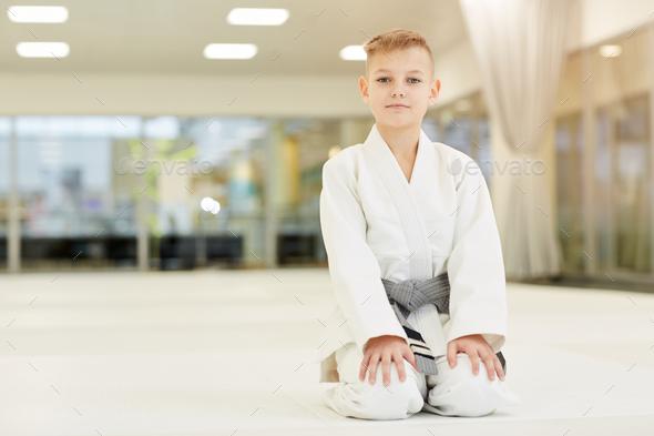 Boy doing karate - Stock Photo - Images