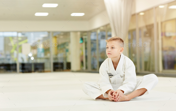 Boy resting after sports training - Stock Photo - Images