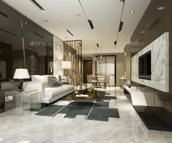 3d rendering modern dining room and living room with luxury decor - Stock Photo - Images
