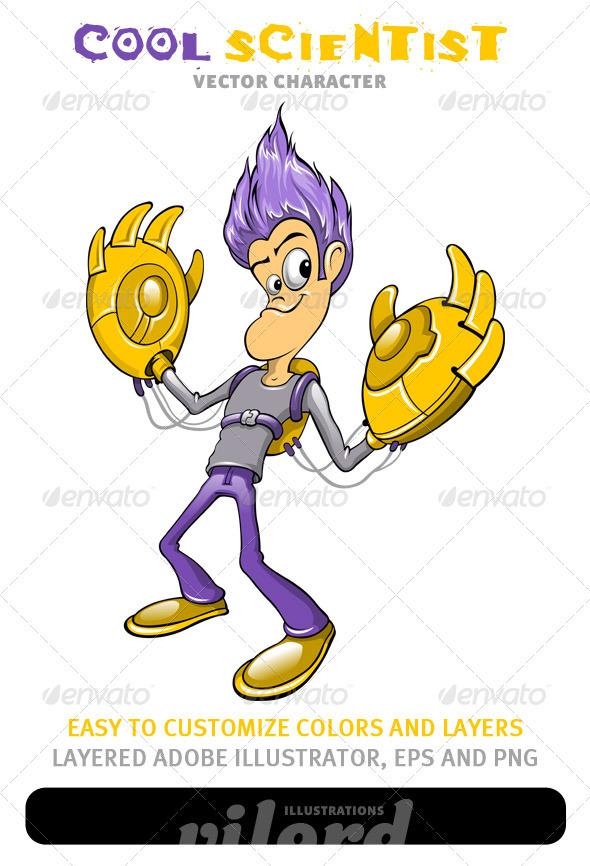 Cool Scientist Mascot - Characters Vectors
