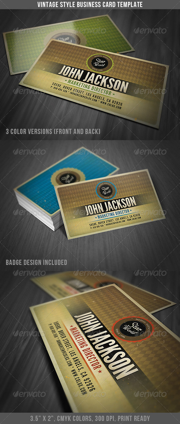Vintage Style Business Card Template by DiscoverIt | GraphicRiver
