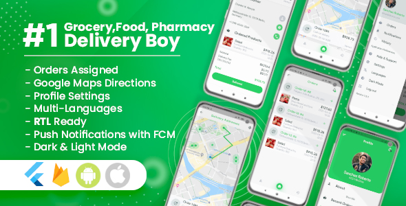 Delivery Boy for Groceries, Foods, Pharmacies, Stores Flutter App Nulled