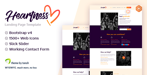 Free Download Heartness - Fundraising / Donation Landing Page Nulled Latest Version