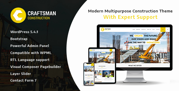 Craftsman - Construction Multipurpose WordPress Theme