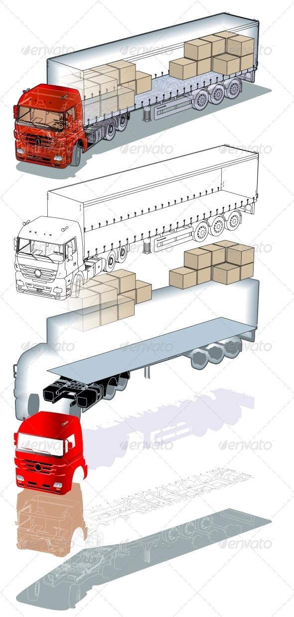 Cargo Truck Infographics Cutaway - Technology Conceptual