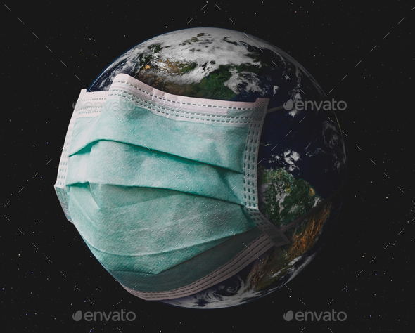 Planet earth with surgical mask. - Stock Photo - Images