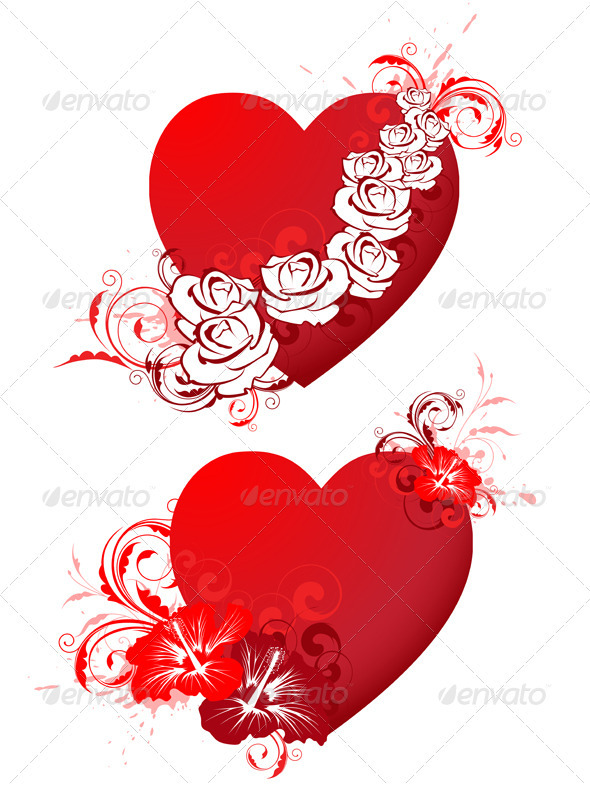 Red Hearts with Floral Ornament and Wings - Valentines Seasons/Holidays