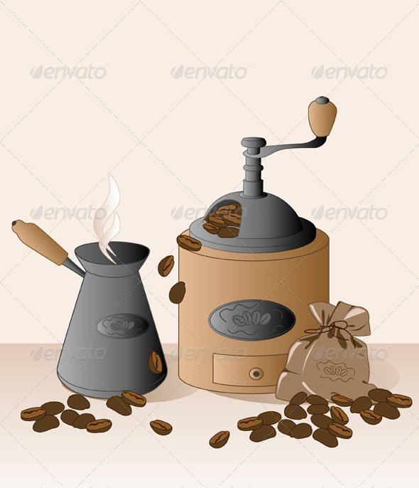 Coffee Grinder and Coffee Beans - Food Objects
