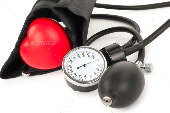 Black tonometer and heart - Stock Photo - Images