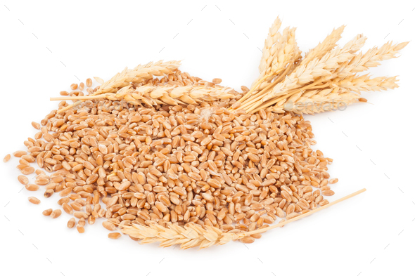 Ears of wheat and wheat grains - Stock Photo - Images