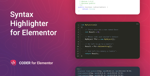 Download Coder – Syntax Highlighter for Elementor Free Nulled