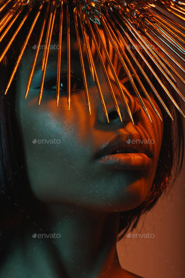 Close up Portrait of Fashionable African American Woman in Headpiece With Needles - Stock Photo - Images