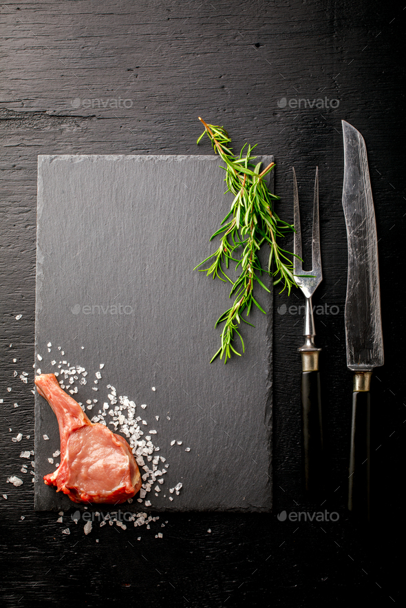 Meat Raw Fresh Mutton on the bone - Stock Photo - Images
