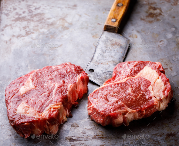 Raw Fresh Marbled Meat Beef Steak - Stock Photo - Images