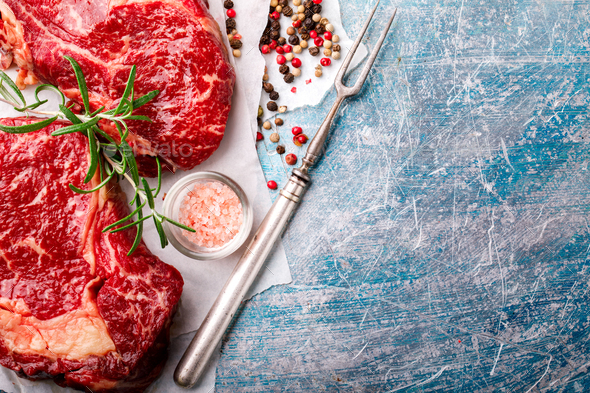 Raw Fresh Marbled Meat Beef Steak.ngredients for Cooking - Stock Photo - Images