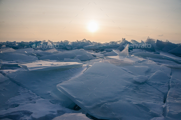 Close up View of Snowy Ice Bricks on Sunset, Russia, Lake Baikal - Stock Photo - Images