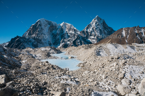Scenic Landscape With Snowy Mountains and Lake, Nepal, Sagarmatha Zone - Stock Photo - Images
