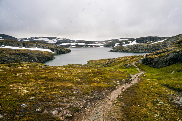 Landscape View of Pond and Mountains on Background, Norway, Hardangervidda National Park - Stock Photo - Images