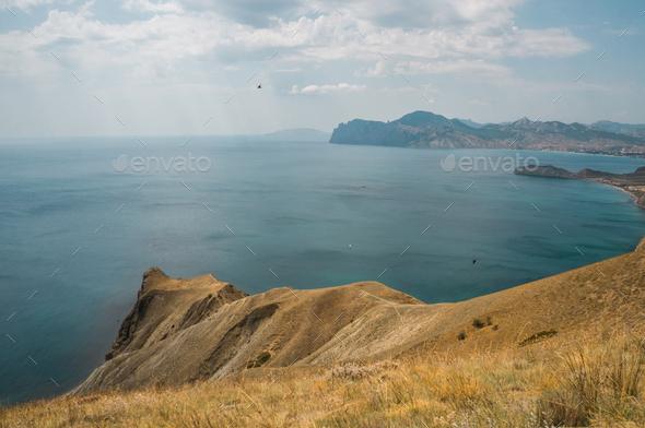 Scenic Landscape With Mountains, Sea and Blue Sky, Ukraine, Crimea - Stock Photo - Images