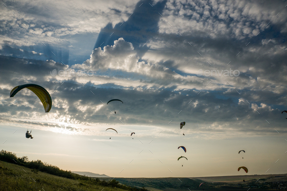 People Flying on Paragliders, Sky With Clouds on Background, Ukraine, Crimea - Stock Photo - Images