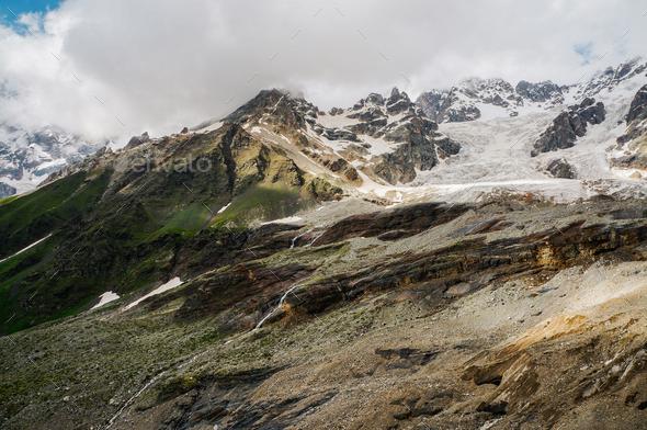 Scenic View of Rocky Mountains, Georgia, Svanetia - Stock Photo - Images
