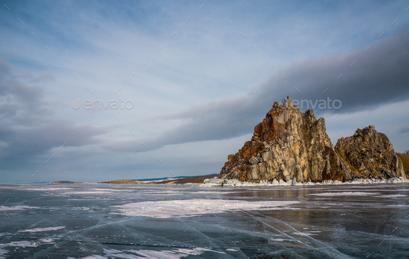 Scenic View of Frozen River With Mountains in Winter, Russia, Lake Baikal - Stock Photo - Images