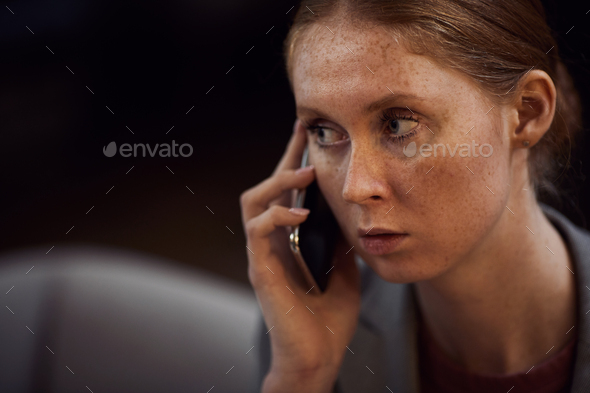Woman talking on mobile phone - Stock Photo - Images