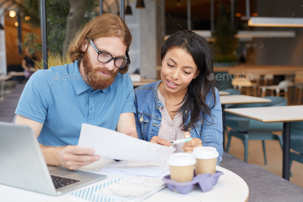 Business people working with business contract - Stock Photo - Images