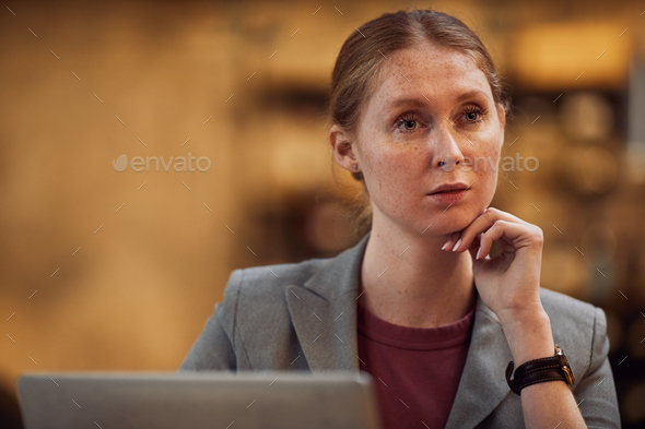 Woman thinking over new ideas - Stock Photo - Images