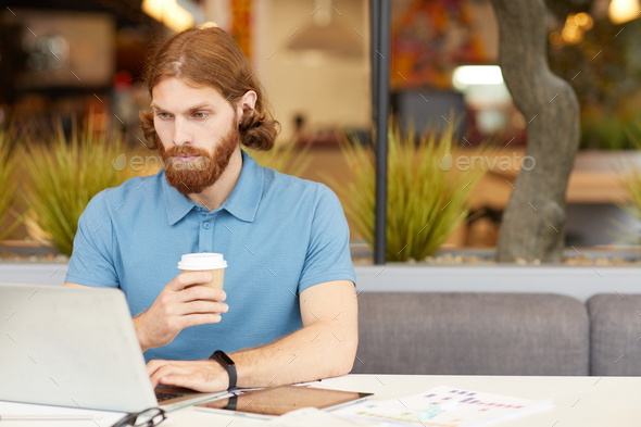 Businessman working in cafe - Stock Photo - Images