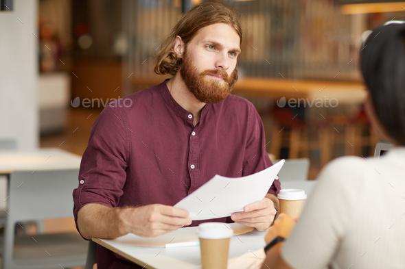 Businessman has a job interview - Stock Photo - Images