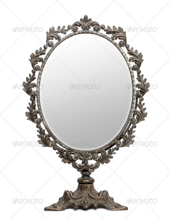 Antique mirror in front of white background - Stock Photo - Images