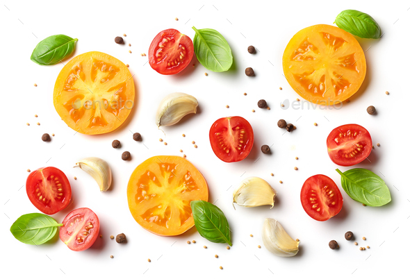 flat lay composition of tomato and basil - Stock Photo - Images