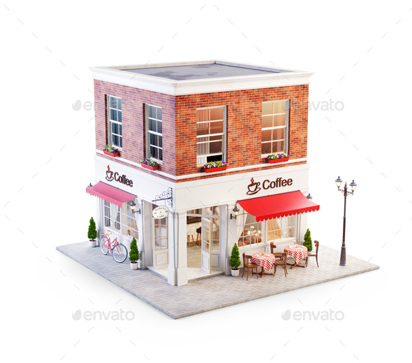 Unusual 3d illustration of a cozy cafe - Stock Photo - Images
