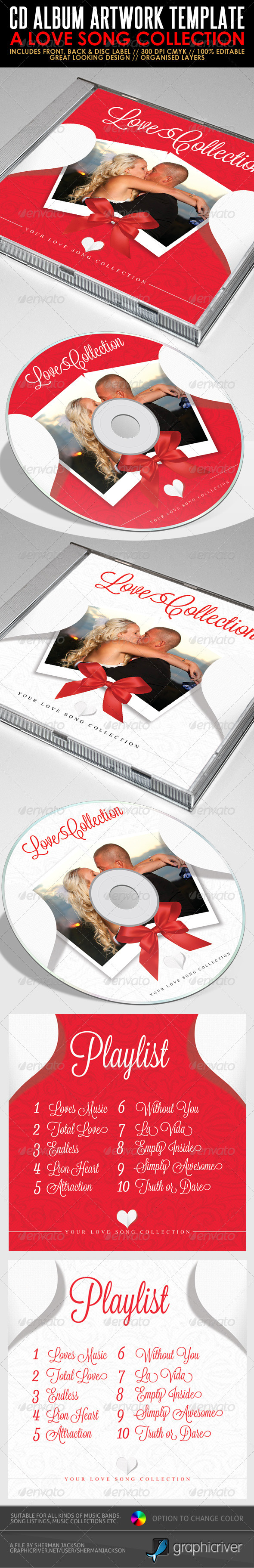 Love Song Collection - CD Artwork PSD Template - CD & DVD Artwork Print Templates