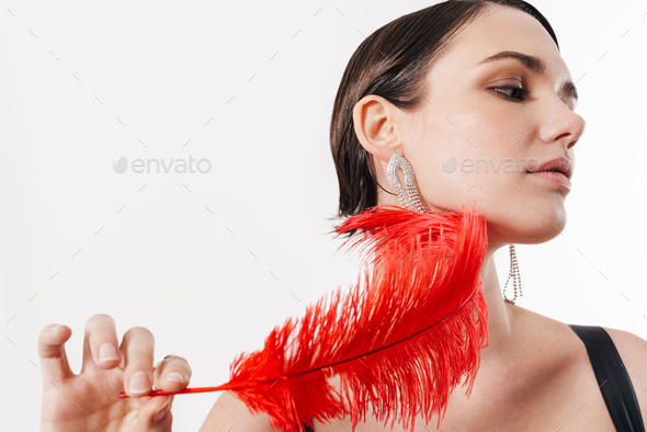 Close up of a sensual young attractive woman - Stock Photo - Images