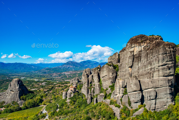 Landscape of Corfu mountains with greenery - Stock Photo - Images