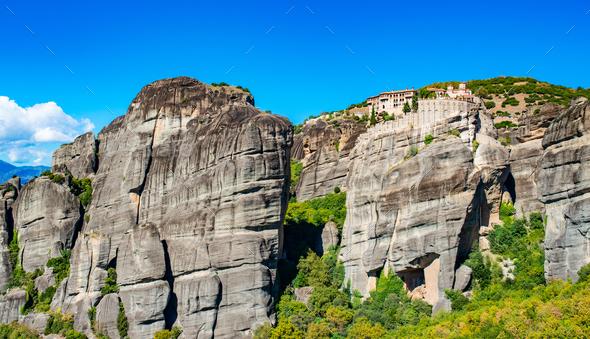 Meteora monastery on Corfu mountains with greenery - Stock Photo - Images