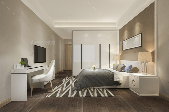 3d rendering beautiful luxury bedroom suite in hotel with tv - Stock Photo - Images
