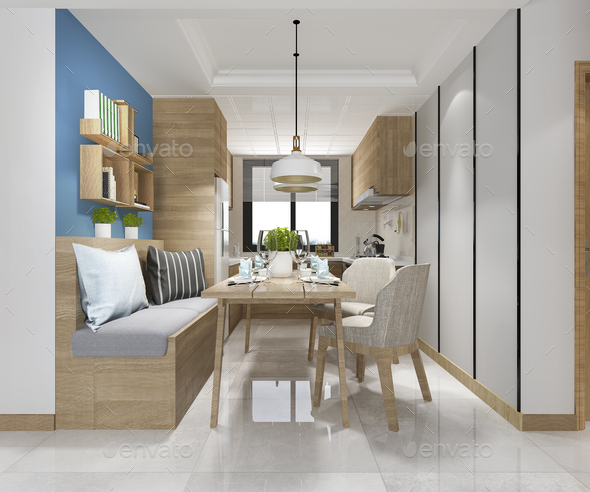3d rendering white minimal kitchen with luxury decoration - Stock Photo - Images