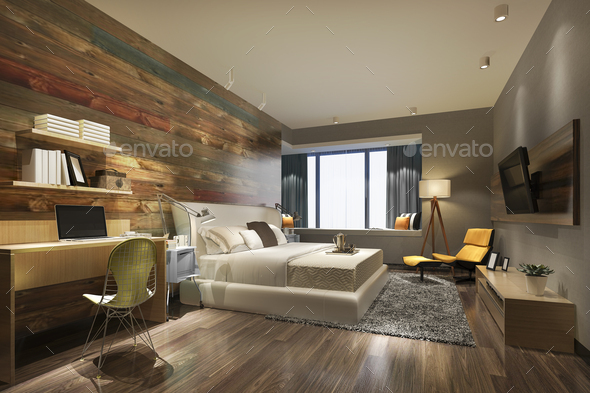 3d rendering beautiful luxury bedroom suite in hotel with tv and working table - Stock Photo - Images