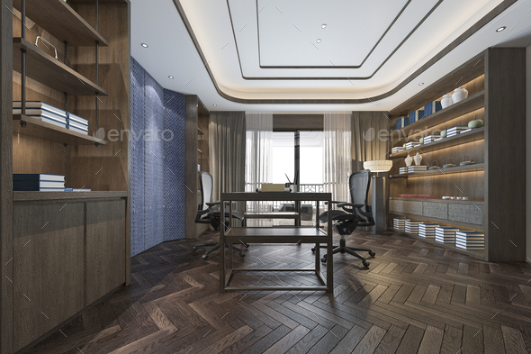 3d rendering business meeting and working room in home office chinese style - Stock Photo - Images